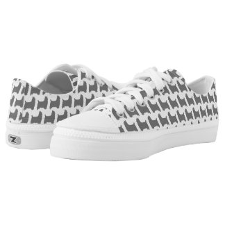 Silky Terrier Silhouettes Pattern Low Tops