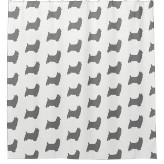 Silky Terrier Silhouettes Pattern Shower Curtain