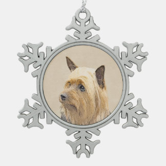 Silky Terrier Snowflake Pewter Christmas Ornament