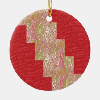 SILKY Waves n Elegant Red Fabric Print - LOW PRICE Round Ceramic Decoration