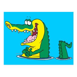 silly alligator crocodile cartoon character postcard