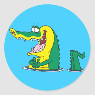 silly alligator crocodile cartoon character round sticker