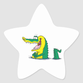 silly alligator crocodile cartoon character star sticker