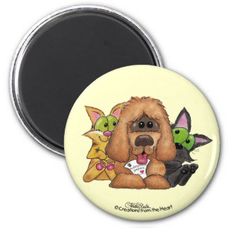 Silly and Tig with Sassie-Pet Adoption is LOVE 6 Cm Round Magnet