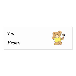 SIlly Bear With Flower and Bee Pack Of Skinny Business Cards