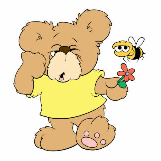 SIlly Bear With Flower and Bee Standing Photo Sculpture