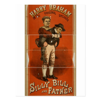 Silly Bill and Father, 'Harry Braham' Retro Theate Postcard