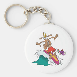 silly billy goat surfing surfer cartoon basic round button key ring