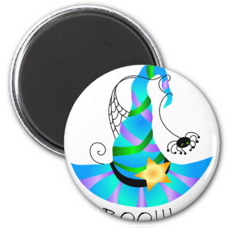 Silly Blue Witch Hat 6 Cm Round Magnet
