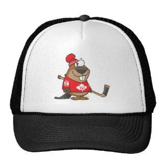 silly canadian hockey beaver cartoon hats