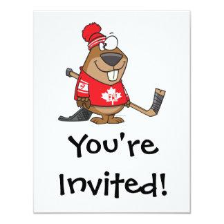 silly canadian hockey beaver cartoon custom invites