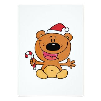 silly candy cane santa christmas bear 13 cm x 18 cm invitation card