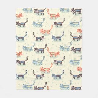 Silly Cartoon Cats Orange Blue Cream Fleece Blanket