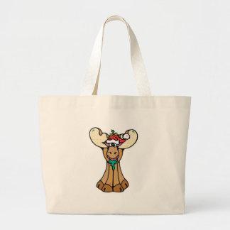 silly christmas moose jumbo tote bag