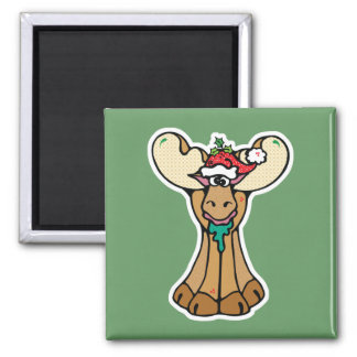 silly christmas moose square magnet
