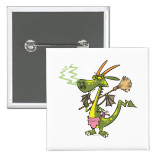 silly cleaning dragon lady cartoon pinback buttons