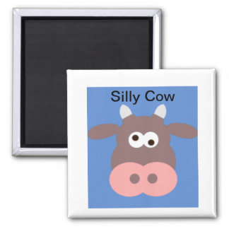 Silly cow square magnet
