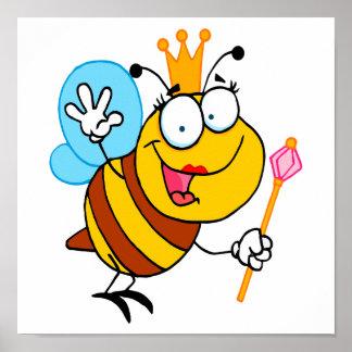 silly cute cartoon queen bee poster