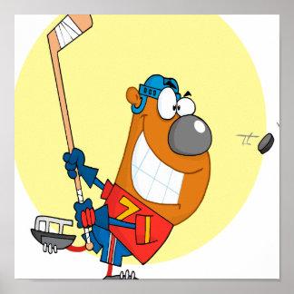 silly cute hockey player playing bear cartoon poster