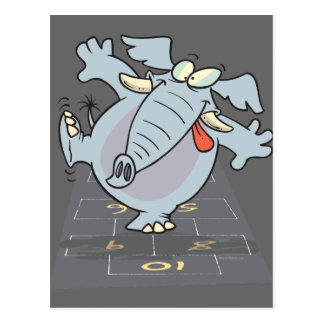 silly cute hopscotch elephant toon postcard