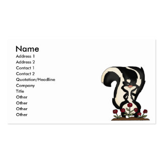 silly cute skunk and red roses business card templates