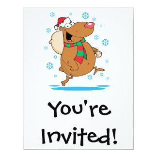 silly cute winter christmas santa bear cartoon 11 cm x 14 cm invitation card