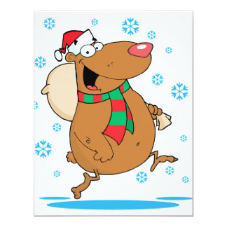silly cute winter christmas santa bear cartoon 4.25x5.5 paper invitation card