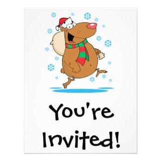 silly cute winter christmas santa bear cartoon custom invite