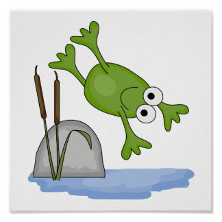 silly diving frog poster