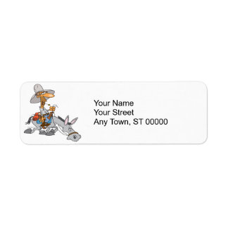 silly donkey rider cartoon return address label