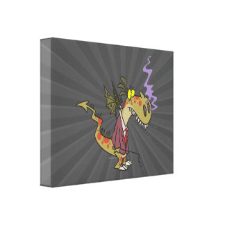 silly dragon boss cartoon character canvas print