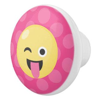 Silly Emoji Polka Dots Ceramic Knob