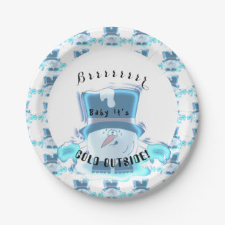 Silly Frozen Snowball Guy - Baby it's Cold Outside Paper Plate