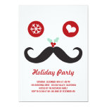 Silly Fun Cute Moustache Smiley Holiday Party Personalised Announcements