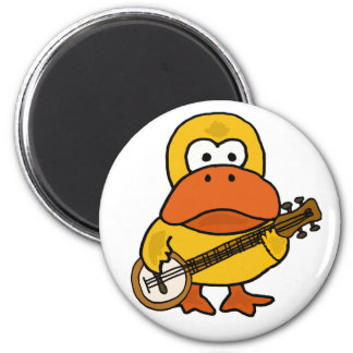 Silly Funny Duck Playing Banjo Cartoon Magnet