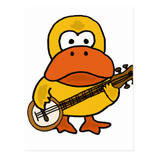 Silly Funny Duck Playing Banjo Cartoon Postcard