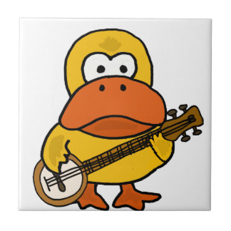 Silly Funny Duck Playing Banjo Cartoon Tile