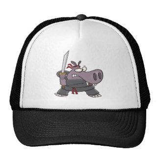 silly funny ninja hippo cartoon cap