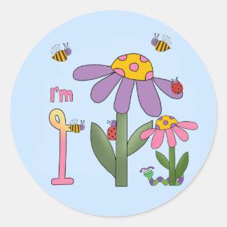 Silly Garden 1st Birthday Stickers