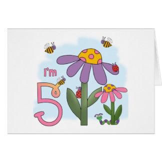 Silly Garden 5th Birthday Greeting Card