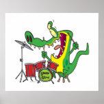 silly gator alligator drummer drumming cartoon poster