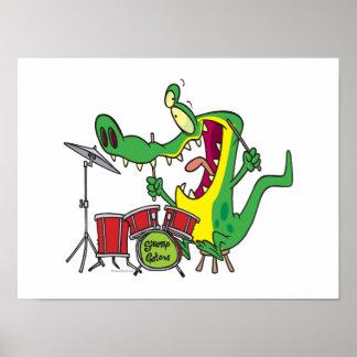 silly gator alligator drummer drumming cartoon print