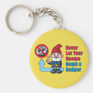 Silly Gnome and Badger Basic Round Button Key Ring