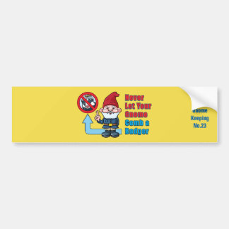 Silly Gnome and Badger Bumper Sticker