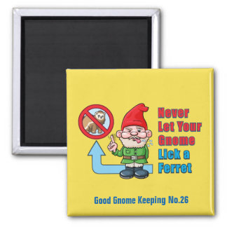 Silly Gnome And Ferret Square Magnet
