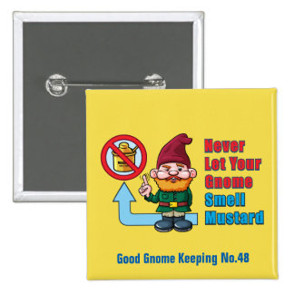 Silly Gnome and Mustard 15 Cm Square Badge