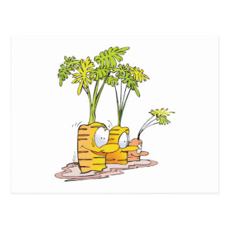 silly goofy cute cartoon carrots rooted post cards