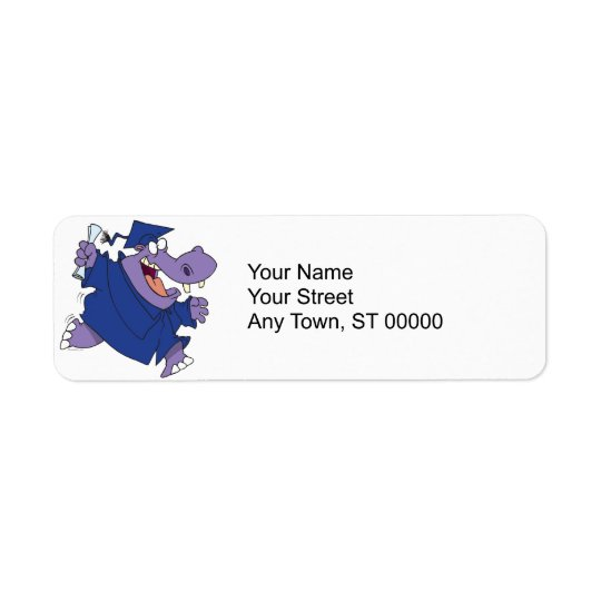 silly graduate graduation hippo cartoon return address label
