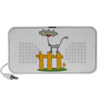 silly gray cat standing on a fence cartoon speakers