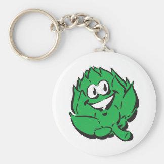 silly happy artichoke basic round button key ring